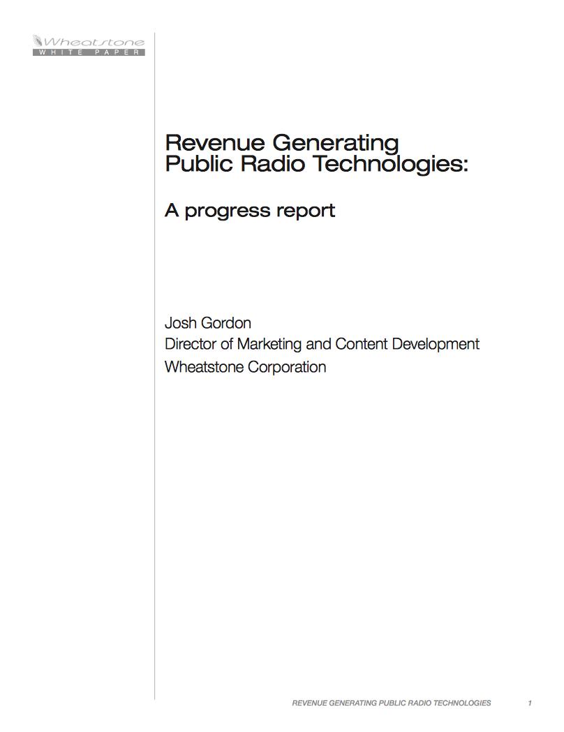 Wheatstone Public Radio Revenue Generation White Paper